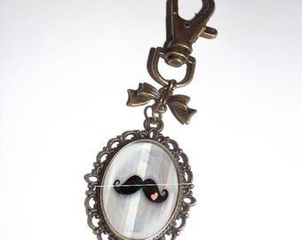 Keychain, bag moustache romantic glass cabochon