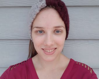 Knitted Headband- Maroon and Light Gray