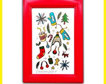 Frame Doodles Christmas/winter 15 x 10 cm