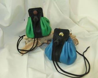 Large leather reinforcement black purse.