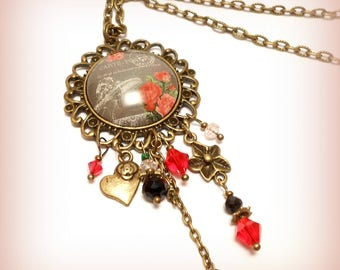 "Glass Cabochon necklace retro vintage ""Post card of flowers"""