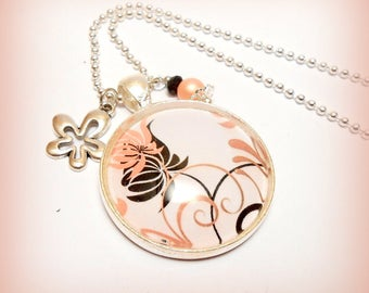 """Small floral Arabesque"" glass Cabochon necklace"