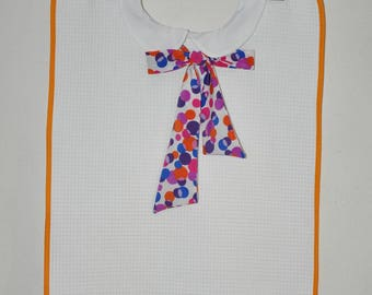 Adult bib for woman with large multicolor polka dots Ribbon