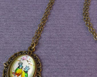 Necklace - Royal Couple - medallion and cabochon