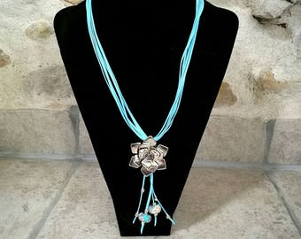 Necklace leather blue sky, flower pendant, beads European beads and silver
