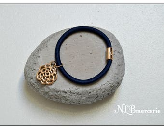 blue hair tie features a decoration in the shape of rose - set of 2