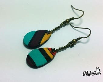 earrings, Burgundy, yellow, orange, blue, black stripes and rain drops