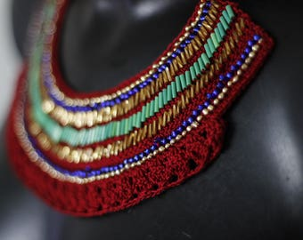 "Necklace ""Ethnik"" chic beaded crochet"