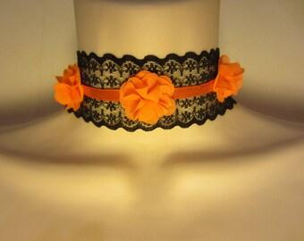 Crew neck black and orange