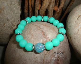 Bright turquoise blue elastic bracelet, rhinestone and silver beads for women