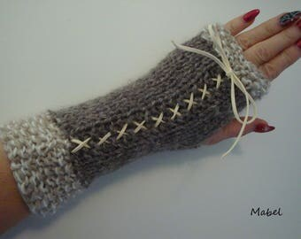 Fingerless gloves with lace, beige, Brown, mohair and silk, warm and soft