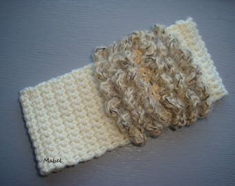 Headband / snood in ecru and beige, warm and soft ruffle for girls 2/3 years