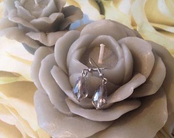 "Earrings ""transparent grey beads"""