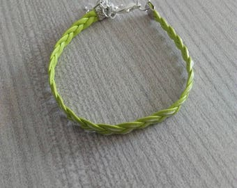 Green leather braided bracelet