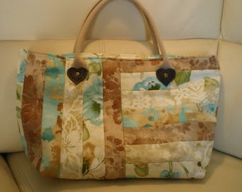 hand bag patchwork in shades of beige fabric