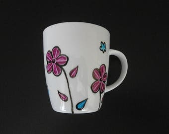 "unique painted porcelain ""Manae"" flower pattern mug"