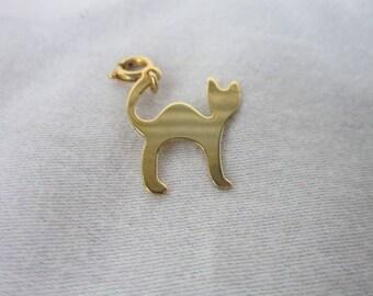 Vintage Gold Tone Cat Silhouette Charm Bracelet Charm