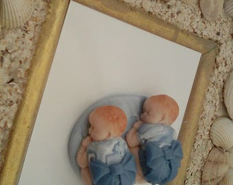 sleeping baby twin very similar blue Fimo