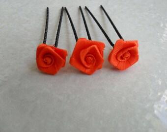 3 metal orange flower hair party