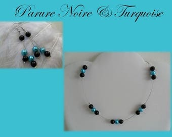 Set Turquoise and black pearls evening ceremony