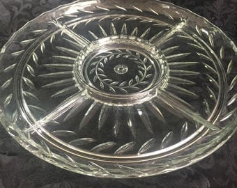 Indiana Glass 5-part serving tray - Laurel pattern