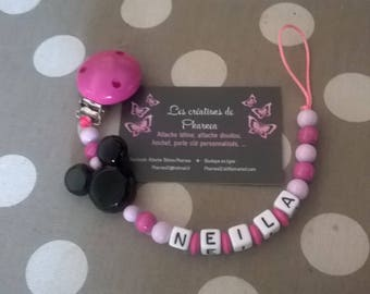Pacifier clip personalized with name pink magenta and light black mickey head lollipop