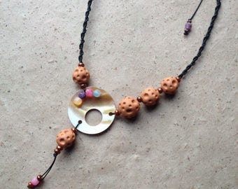 Ceramic Wedding necklace - agate and mother of pearl beads
