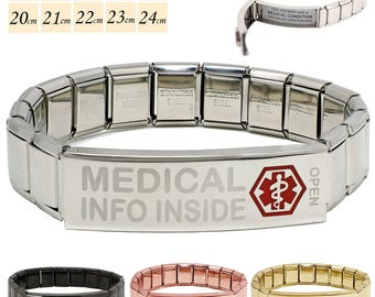 """Pre Etched with """"Medical Info Inside"""" Steel Medical Alert SOS ID Stretch Bracelet 200 Characters on two Waterproof Labels By REDMEDID"""