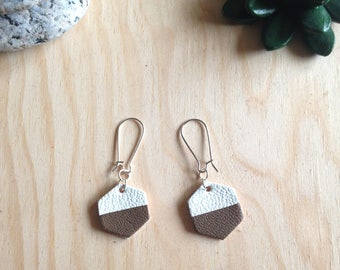 Leather - leather earring earrings Brown and white