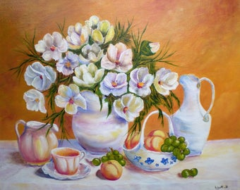 """Painting on canvas """"Flowers and fruits"""""""