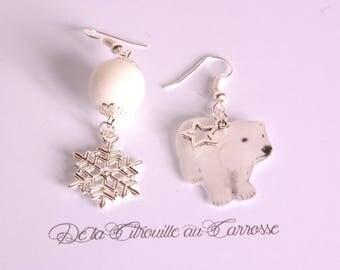 Polar bear Stud Earrings, snowflake