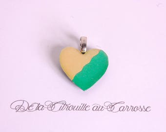 Two-tone heart pendant, emerald green and gold