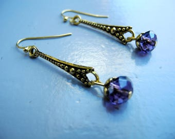 Retro gold earrings and Crystal