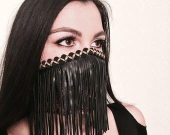 Fringe Dust Mask blk/gold