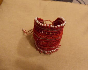 RED WITH RED PEARL COTTON THREAD