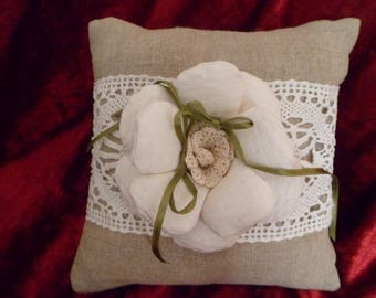 pillow with lace and ecru flower wedding