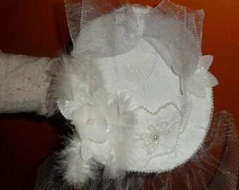 lace fascinator feathers beads and nylon chiffon flowers