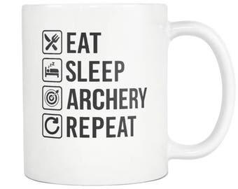 Archery Mug,Archery Gift ,Eat Sleep Repeat Coffee Tea Cup