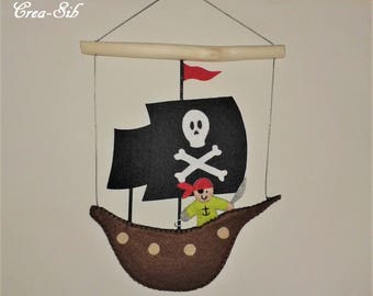 Pirate ship felt ornament