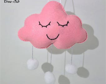 "Pink and white rain drop ""Cloud and tassels"" hanging"