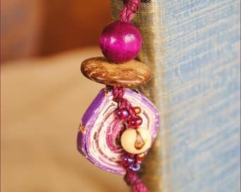 Bookmark purple white and Brown