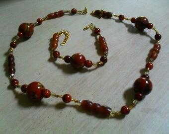 modern set (necklace and bracelet), original (Brown)