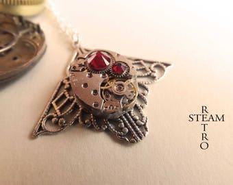 Mackintosh necklace art deco steampunk siam - steampunk jewelry - Necklace by steamretro-steampunk - steampunk necklace women
