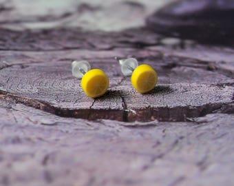 Stud Earrings yellow lemons. jewel