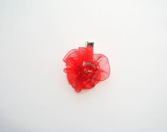 hair clip kids button rhinestone organza Ribbon