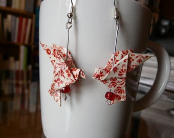 Origami doves printed red and white earrings