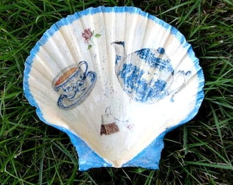 Shell saint jacques transformed into sugar bowl or bowl or decoration