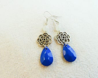 "Earrings ""stylized roses and blue beads"""