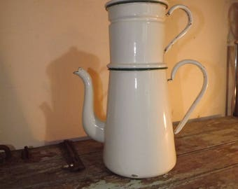 Large Vintage French Enamel Coffee Pot Complete with Original Filter,Rustic,Country kitchen,Decoration,Flower Pot