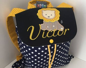 Backpack nursery or crib size 2/3 years with Navy Blue lion and name